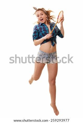 The beautiful blonde with racket for badminton - stock photo