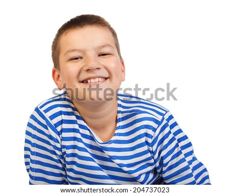 the beautiful boy the teenager smiles isolated on a white background - stock photo