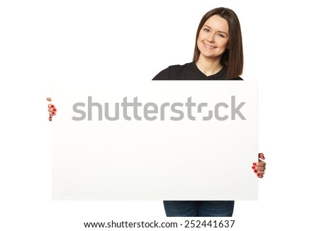 The beautiful business woman holding a banner Isolated - stock photo
