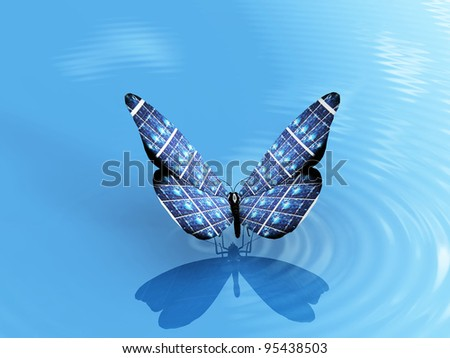 the beautiful butterfly on the water - stock photo