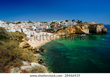 The beautiful city of Carvoeiro in Algarve, Portugal - stock photo