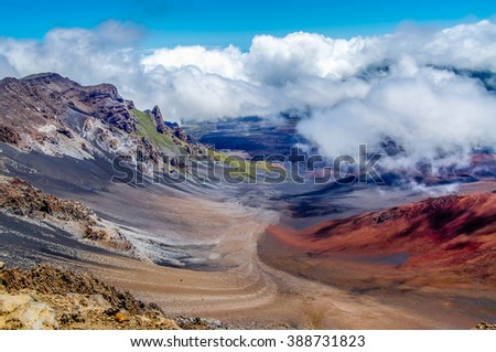 The beautiful colors seen in the massive volcanic crater at Haleakala National Park on the island of Maui, Hawaii. - stock photo