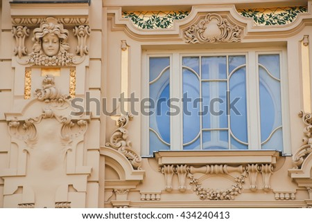 The beautiful facade of the old European house. - stock photo