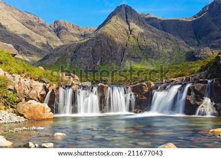The beautiful Fairy Pools on the Isle of Skye, Scotland - stock photo
