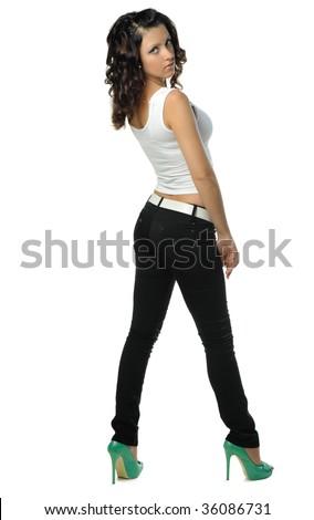 The beautiful girl isolated at white - stock photo