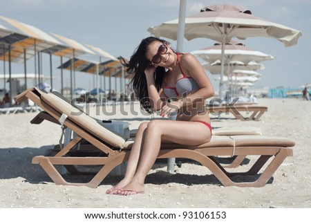 The beautiful girl on rest - stock photo
