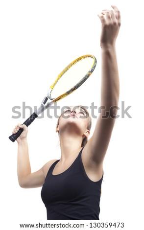 The beautiful girl plays tennis. - stock photo