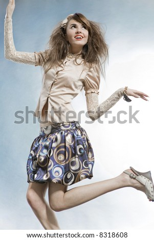 The beautiful girl the brunette is pleased lives - stock photo