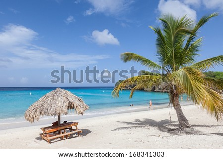 The beautiful Grande Knip Beach on the island of Curacao Caribbean - stock photo