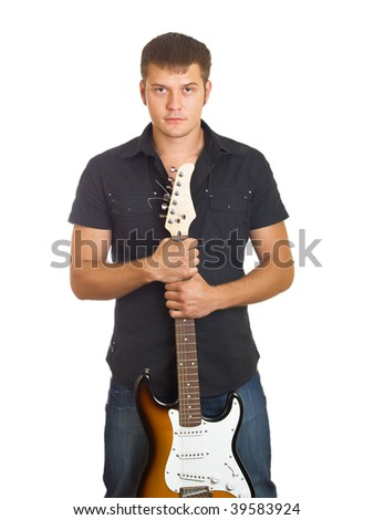 The  beautiful guy with a guitar in a dark shirt - stock photo