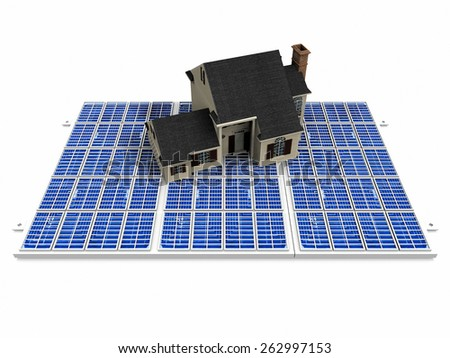 the beautiful house on solar cell - stock photo