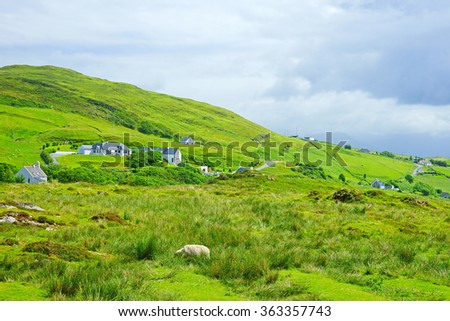 The beautiful landscape of The Aird of Sleat with sheep grazing peacefully, with a distant view of crofters homes and an incoming sea mist, Isle of Skye, Scotland - stock photo
