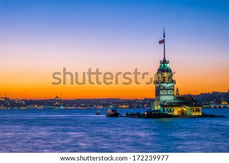 The beautiful Maiden tower at sunset in Istanbul, Turkey - stock photo