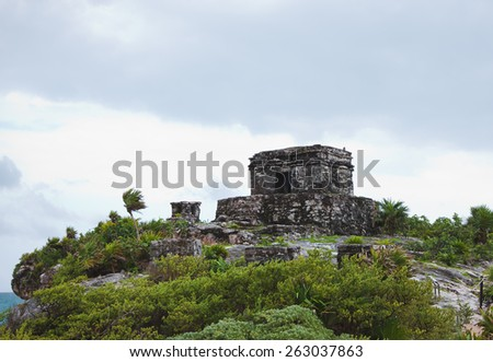The beautiful Mayan ruins in Tulum Mexico - stock photo