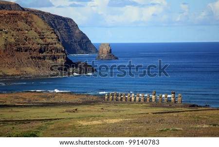 The beautiful Moai statues of Easter Island in the South Pacific - stock photo