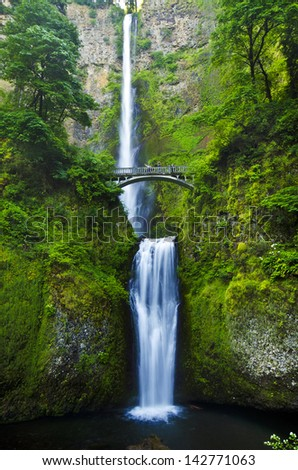The beautiful multinomah falls - stock photo