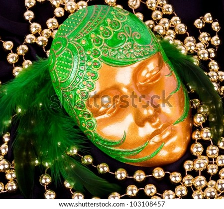 The beautiful mysterious venetian mask for Carnival - stock photo