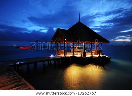 The Beautiful Night of Water Villa - stock photo