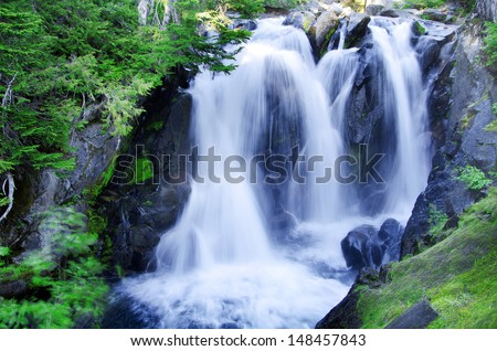The beautiful paradise falls at mount rainier - stock photo