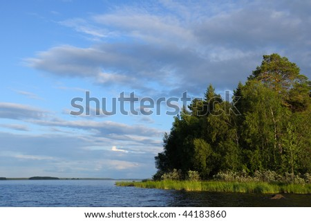 The beautiful picture of Karelian forest at the edge of a lake on a blue and cloudy sky background - stock photo