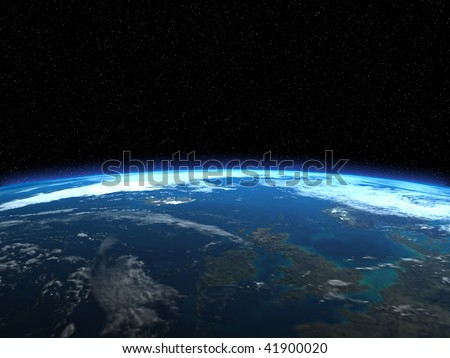 The beautiful planet Earth with blue glow around it, some more in my portfolio - stock photo