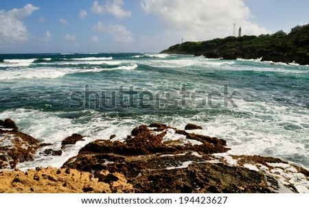 The beautiful rocky Coast line found at Bottom Bay Barbados - stock photo