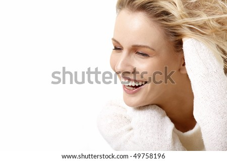 The beautiful smiling girl on a white background - stock photo