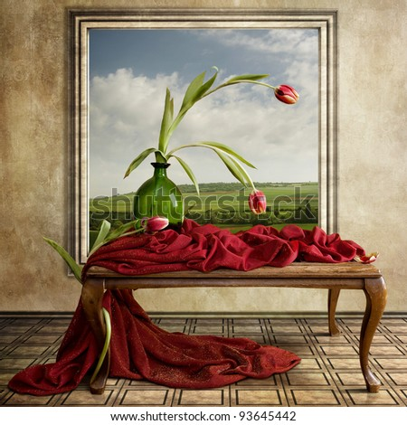 The beautiful Still Life with red Tulips - stock photo