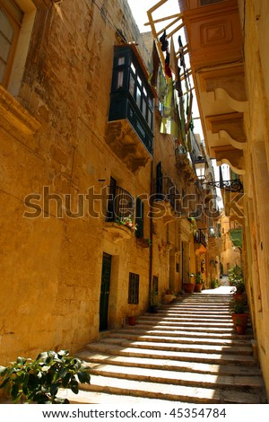 The beautiful streets of Malta. - stock photo