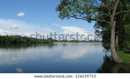 the beautiful summer landscape with river and trees - stock photo