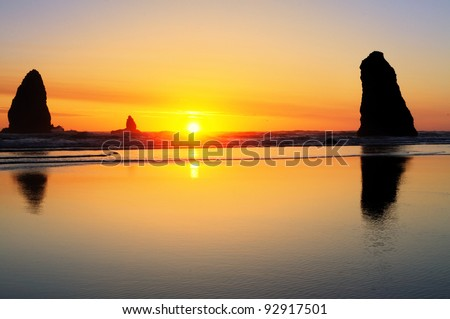 The Beautiful Sunset at Cannon Beach Oregon - stock photo