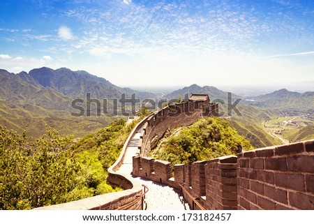 The beautiful view of the Great Wall of China - stock photo