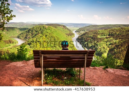 The beautiful view over the Saarschleife, a river in Germany - stock photo