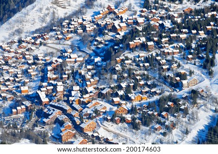The beautiful village of Meribel in the french alps, France - stock photo