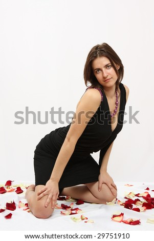 The beautiful young woman in a dress - stock photo