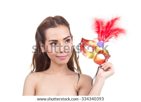 The beautiful young woman with a red mysterious Venetian mask isolated on white background - stock photo