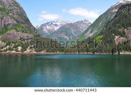 The Beauty of North America   Alaska: Emerald water of Tracy Arm Fjords, Alaska, United States - stock photo