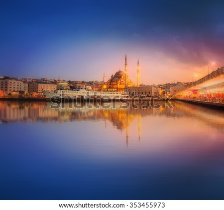 The beauty panorama of Istanbul at a dramatic sunset from Galata Bridge, Istanbul, Turkey - stock photo