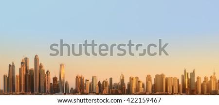 The beauty panorama of skyscrapers in Dubai Marina. UAE - stock photo