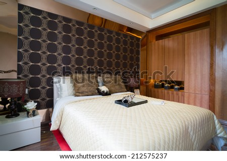 the bedroom with luxury decoration - stock photo