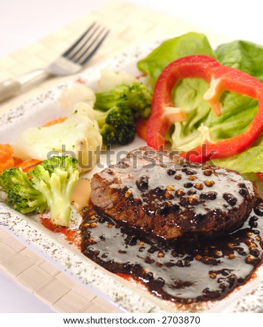 The Beef Steak with Pepper - stock photo