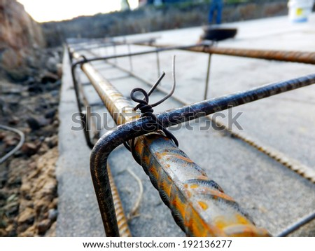the beginning of the foundation slab reinforcement at home - stock photo