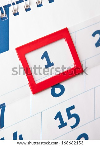 The beginning of the month. The first calendar day of - stock photo