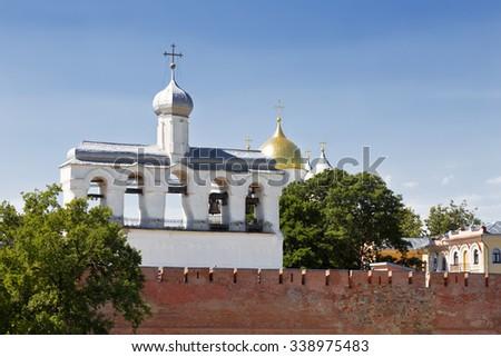 The belfry of St. Sophia Cathedral in the Kremlin, Veliky Novgorod, Russia - stock photo