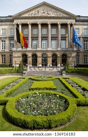 The Belgian Federal Parliament sits in the Palace of the Nation in Brussels - Belgium - stock photo