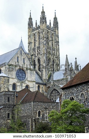 The Bell Harry Tower at Canterbury Cathedral viewed from the North East with part of the Chapter House - stock photo