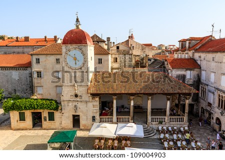 The Bell Tower in the Center of Trogir, Croatia - stock photo