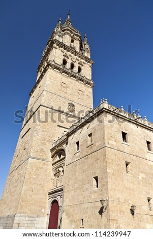 The Bell Tower of the Old Cathedral of Salamanca, Spain - stock photo