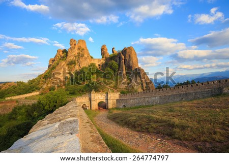 The Belogradchik Fortress, also known as Kaleto, is an ancient fortress close to the northwestern Bulgarian town of Belogradchik and the town's primary cultural and historical tourist attraction. - stock photo