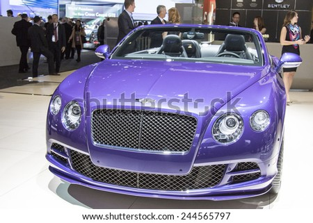 The 2015 Bentley GTS speed convertible at The North American International Auto Show January 12, 2015 in Detroit, Michigan. - stock photo